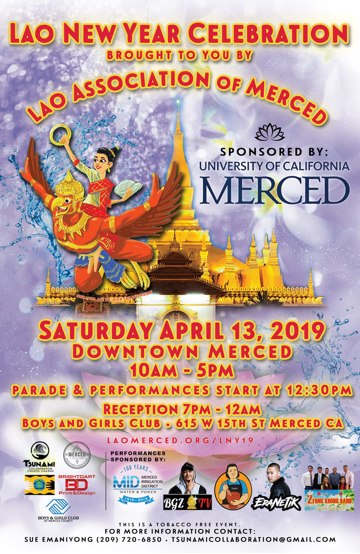 Poster for Downtown Merced 2019 Lao New Year Celebration